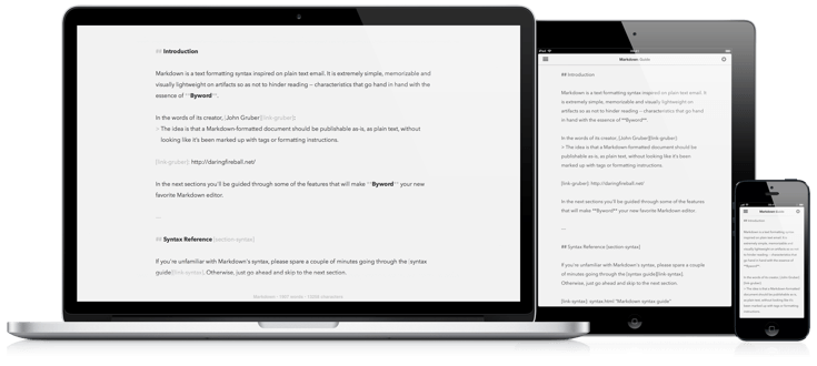 Byword para Mac iPhone y iPad