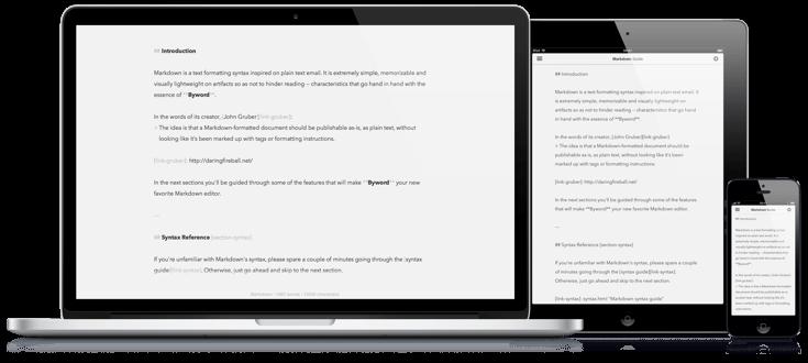 Byword para Mac iPhone y iPad