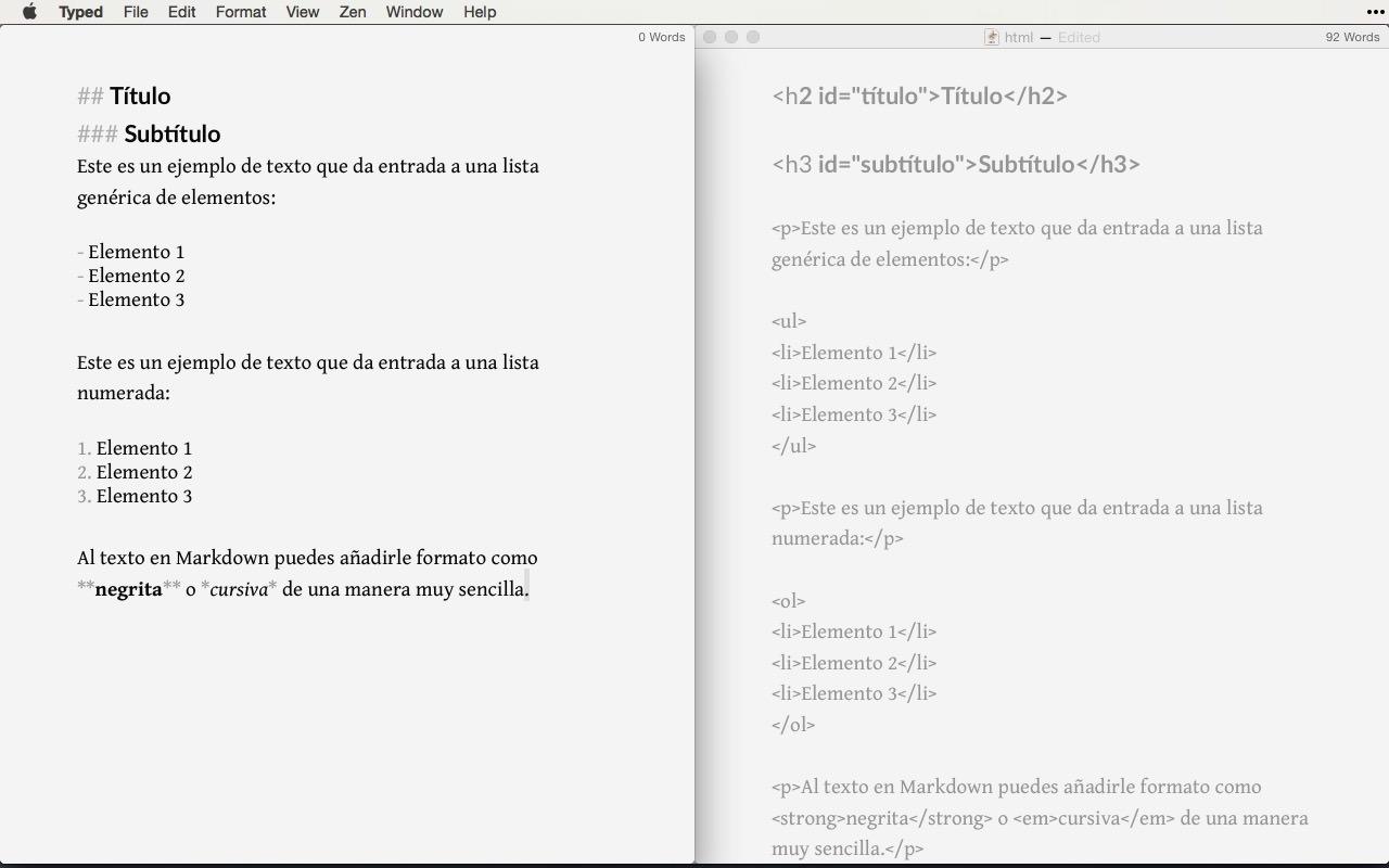 Diferencia Markdown y HTML